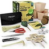Kit de Démarrage Bonsaï + Kit d'Outils - Kit Complet pour Facilement Faire Pousser 4 Arbres de Bonsaï à Partir de Graines avec un Guide Complet et des Marqueurs de Plantes en Bambou - Cadeau Unique