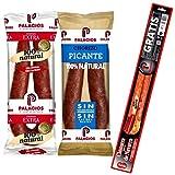 Chorizo Palacios Picante - Chorizo Dulce - Llévate de REGALO una Rica Chistorra de Navarra - Sin Gluten . Sin Lactosa (Lote 2 Chorizos Mixto)