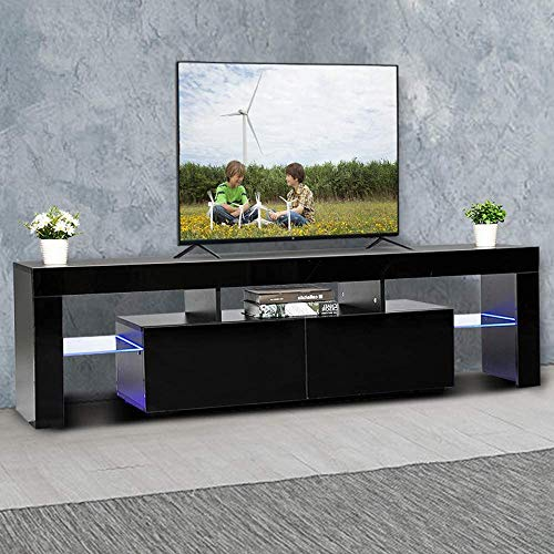 Home TV Stand, Small Entertainment Center for Up to 50 Inch Smart TV, Flat Media Cabinet w/LED Lights, Storage and Shelves for Bedroom, Living Room and Lounge Room (Black)
