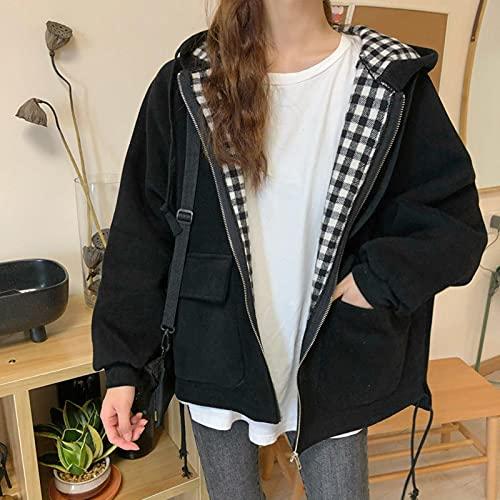 Chaquetas Mujeres con Capucha con Capucha Autumn Outwear Abrigos Casual Ins Instale Oversize Harajuku Teens Streetwear Bomber Chaqueta más tamaño Tops