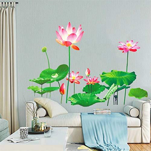 WHFLL Lotus uit slof Muursticker voor woonkamer, tv, sofa, achtergrond, slaapkamer, decor PVC, muurtattoos, muurschildering