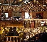 BestCircle - Cortina de luz de 9.7 m + 3 m de 325 lues LED color amarillo cálido con patrón de onda, extralargo, para bodas, fiestas, hogar, jardín, dormitorio, decoración de pared