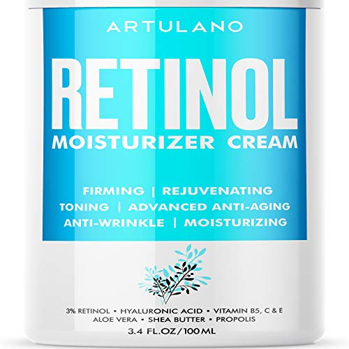 Anti Aging Retinol Moisturizer Cream for Face - Eyes & Neck Area - Day & Night Facial Cream with 3% Active Retinol Hyaluronic Acid - Firming Anti Wrinkle Cream for Women and Men - 3.4 oz (3.4 FL OZ)