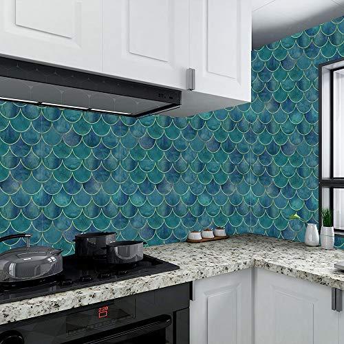 Lianlili Patrón de Escala de Pescado Creativo Pegatinas de azulejo a Prueba de Agua Pegatinas de la Pared a Prueba de Aceite Pegatina de Pared PVC Autoadhesivo DIY Fondo de Pantalla (Color : 10x10cm)