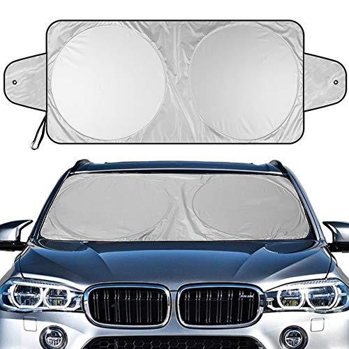 "Windshield Sun Shade, Car Window Shade as Bonus by Big Hippo Keep Vehicle Cool Protect Your Car from Sun Heat & Glare Best UV Ray Visor Protector (Size: 55.16""X 27.5"")"