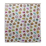 N\A Toilette Duschvorhang Cupcake Delicious Snack Bad Vorhang wasserdicht 66 x 72 Zoll maschinenwaschbar wasserdicht Badezimmer Vorhänge