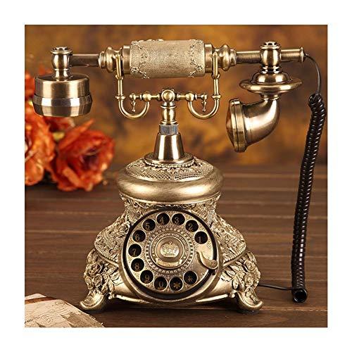 Teléfono con Cable, Resina de Imitación de Cobre Estilo Vintage Teléfono Antiguo de Escritorio para Casa y Oficina, Teléfono, Hogar, Sala de Estar, DecoraciónTeléfonos analógicos