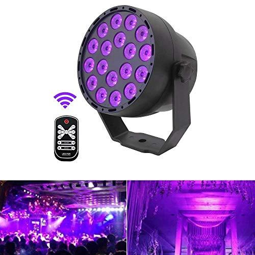 UV Schwarzlicht, 54W 18LEDs 7 Beleuchtung Modi Party Licht Strahler UV Lampe Bühnenbeleuchtung led Scheinwerfer Fernbedienung DMX Steuerung...