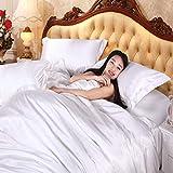 IKITOBI Spannbettlaken für King-Size-Betten, weiß, luxuriös, weich, für King-Size-Betten,...