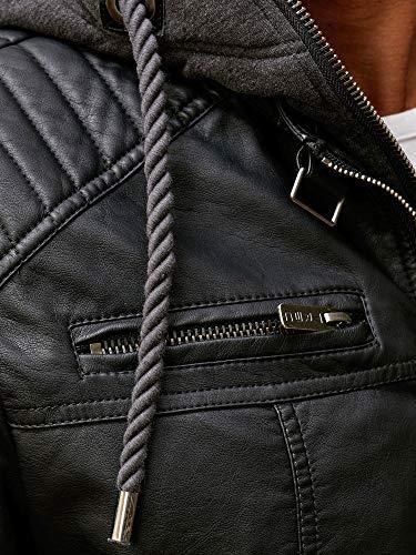 Redbridge Chaqueta de imitación de Cuero para Hombre con Capucha Negro L