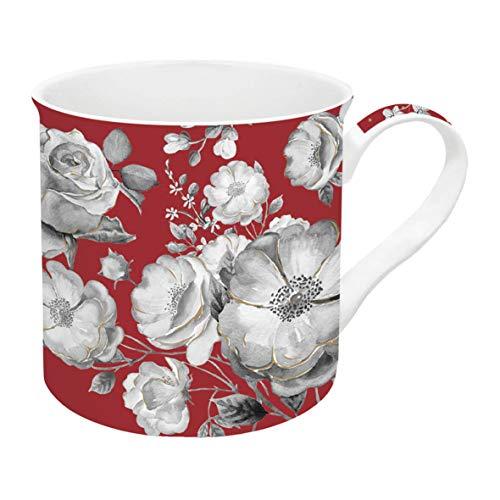 R2S 177TCRG Trend & Colors Coffret 1 Mug 30 Cl Fleurs Porcelaine Rouge 12 x 21 x 10 cm