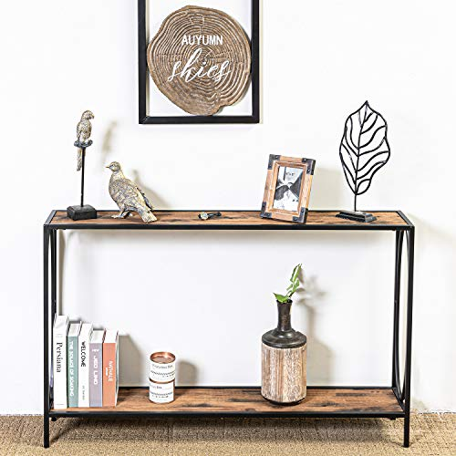 HAWOO Narrow Console Sofa Table for Entryway, Industrial Rustic Surface Skinny Bar Table with Storage Shelves 47.25 x 9 x 29 Inches, for Entryway, Hallway,Living Room (2-Tier Console Table)