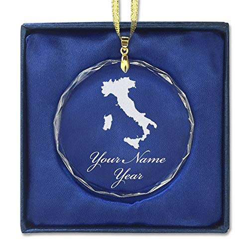 LaserGram Christmas Ornament, Country Silhouette Italy, Personalized Engraving Included (Round Shape)