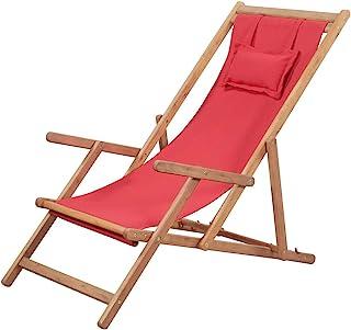 vidaXL Silla de Playa Plegable Tela Roja Piscina Patio