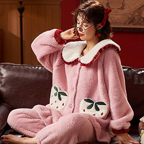 Damen Schlafanzug,Damen Winter dicken Korallen Samt Pyjamas, süße Hose Home Service...