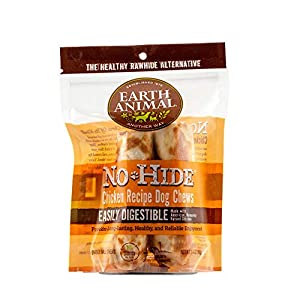 Earth Animal Small No-Hide Dog Chews – Made in the USA, Natural Rawhide Alternative Treats (Chicken, Small – 2 Chews)