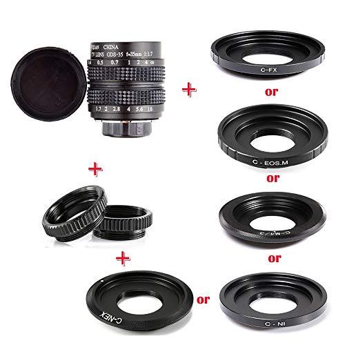 DINGZH-HANGZH Lente De CCTV De 35mm F/1.7 APS-C con Anillo Adaptador con 2 Anillos Macro para Cámara NEXON FX M4/3 NIKON1 EOSM Sin Espejo (Interface Type : Nikon 1)