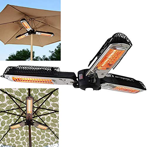 WANGXIAO Electric Patio Umbrella Heater, Folding Outdoor Electric Infrared Space Heater with 3 Heating Panels for Pergola or Gazabo Parasol