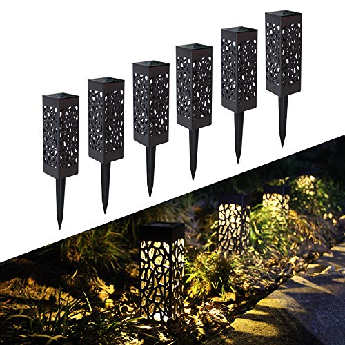 FLOWood Solar Light Garden LED Solar Light Waterproof IP65 Solar lamp for Garden Outdoor with Ground Spike Plastic 6 x 6 x 28 cm Warm White 6 Pieces