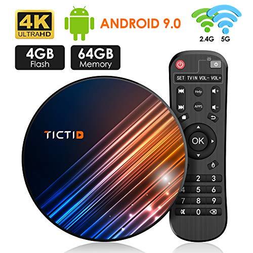 Android 9.0 TV Box 4GB RAM 64GB ROM TICTID Android TV Box RK3318 Quad-Core 64bit with Dual-WiFi 5G/2.4G, BT 4.0, 4K2K UHD H.265, USB 3.0 Smart TV Box Media Players Streaming