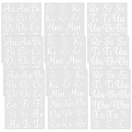 9 Sheets Iron-on Letters Upper and Lower Iron-on Letters Soft Flock Iron-on Letters Flocking Alphabet HTV Letters for T-Shirts Clothes Bags Hats DIY Projects Decor (White) (White)