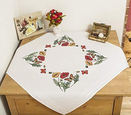 Kamaca Stickpackung Mohnblumen UND Schmetterlinge Kreuzstich vorgezeichnet Baumwolle Stickset mit Stickvorlage (Tischdecke 80x80 cm)