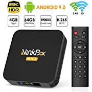 NinkBox Android 9.0 TV Box 8K, 【4G+64G】N8 Plus TV Box Android, Amlogic S905X3 Bluetooth 4.0, Quad-Core 64bit Cortex-A55, TV Box LAN 100M Wi-Fi 2.4G/5G Box TV Android 8K