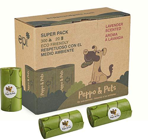 Peppo and Pets- 300 Bolsas biodegradables para excrementos de Perro - 20...