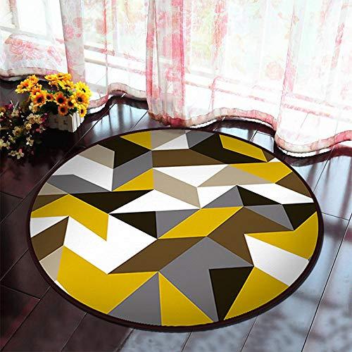 WuCHONGDITAN tapijt, rond, geometrie, eenvoudig, modern, kunstdruk, ronde voet, antislip, zacht pad binnen comfortabel, vloerkleed voor woonkamer, eettafel, salontafel, slaapkamer, huis diameter 160cm/5.25 ft