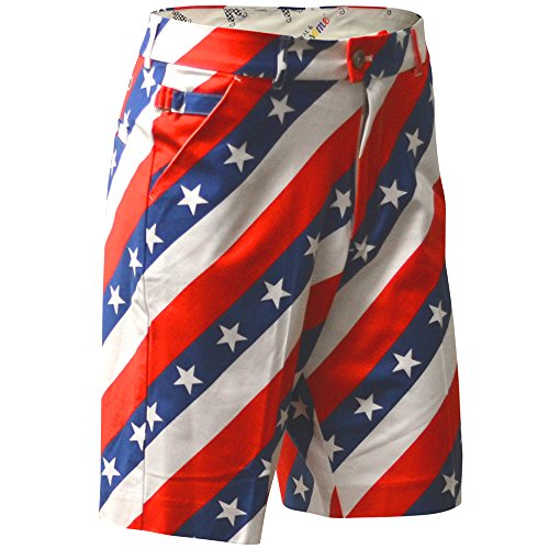 Royal & Awesome Men's Plus Size Patterned Golf Shorts, Pars and Stripes, 40' Waist-101 cm