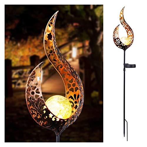 HongTeng-Lámparas solares Lámpara de césped Solar Sun Moon Flame Design Impermeable Retro Lámpara Jardín Decoración Suministros Patio Paisaje Lighting Lighting (Color : Flame)