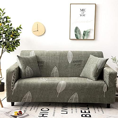 Funda Sofá Elástica 4 Plazas: 235-300 cm Funda para sofá Antideslizante Funda de Sofá Todo Incluido,Suave del Protector de Muebles,Lavable Sofá Cojín - Fondo Verde,Hojas