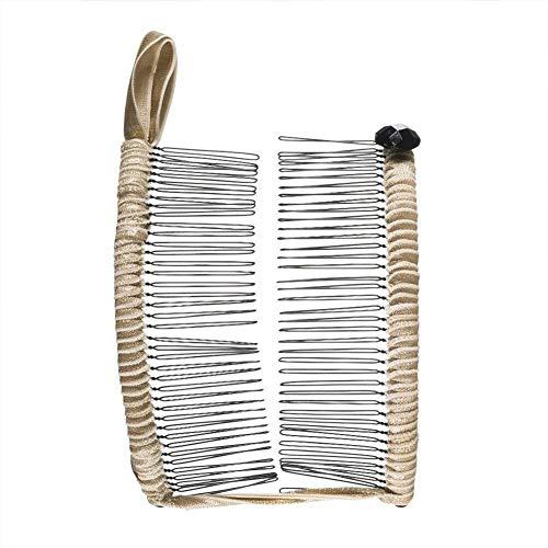 Ganquer, supporto per chignon, accessorio per acconciature quotidiane, stile vintage, a banana, doppia omb coda di cavallo, regolabile (20 denti), Non