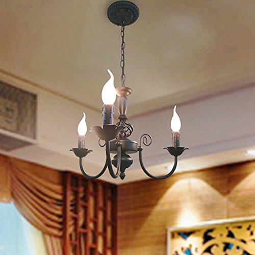 L¨¢mpara de ara?a de hierro de vela europea LED l¨¢mpara de d¨ªa de ahorro de energ¨ªa l¨¢mpara de ara?a de habitaci¨®n de mini restaurante de lujo(45x27cm)