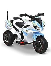 HOMCOM Moto Eléctrica con Faros Música Batería 6V Recargable 3 Neumáticas Anchas Cajas Moto de Juego para Niños de +18 Meses 73x39x50 cm