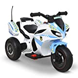 HOMCOM Kids 6V Electric Ride On Motorcycle Electric w/ Lights Music Storage Box 3 Wheel Trike Toys For 18 - 36 Months Blue