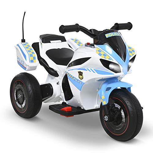 HOMCOM Moto Eléctrica para Niños de +18 Meses con Faros Música Batería 6V Recargable 3 Neumáticos Anchos Baúles de Almacenaje Moto de Juego 73x39x50 cm Azul