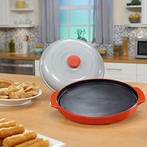 EDCV Kitchen Microwave Cooking Grillofen Bratpfanne verwenden Mikrowellen-Grillpfanne Mikrowellen-Crisper-Platte mit Deckel