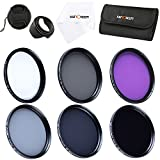 K&F Concept 72mm 6pcs FLD CPL UV ND2 ND4 ND8Lens Accessory Filter Kit UV Protector Circular Polarizing Filter for Canon 7D 60D 70D 500D for Nikon D7000 D600 D300 D800 D7100 for Sony A77 NEX 5 DSLR Cameras + Microfiber Lens Cleaning Cloth + Petal Lens Hood + Center Pinch Lens Cap + Filter Bag Pouch