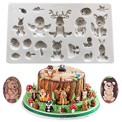 SUNSK Silicone Fondant Cake Moulds 3D Forest Animals Mould DIY Soap Jelly Ice Cake Chocolate Sweet Moulds Silicone Baking Molds Decorating Tools
