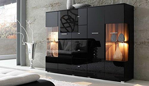 lifestyle4living Highboard mit Fronten in schwarz Hochglanz, Korpus in schwarz, Kommode mit 4 Türen und 4 Schubladen, Moderne Anrichte mit Soft-Close und Selbsteinzug