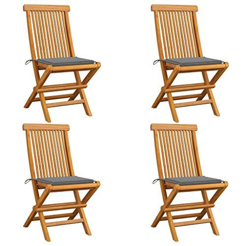vidaXL - 4 sillas de jardín de madera maciza de teca con cojines, sillas de terraza, sillas de comedor, sillas de patio, balcón exterior gris