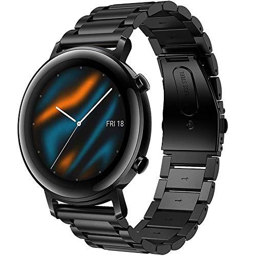 Songsier Correa Compatible con Huawei Watch GT 2 42mm, 20 mm Correa de Repuesto de Acero Inoxidable para Galaxy Watch Active 2 / Galaxy Watch 3 41 mm/Galaxy Watch Active 40 mm/Garmin Venu