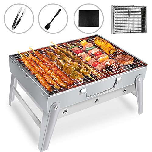 Gifort Portable Grill, BBQ Holzkohlegrill Tragbar Mini Grill Rostfreier Stahl Faltbare Mini Holzkohlegrill BBQ für Outdoor Garten Camping Party Beach Barbecue