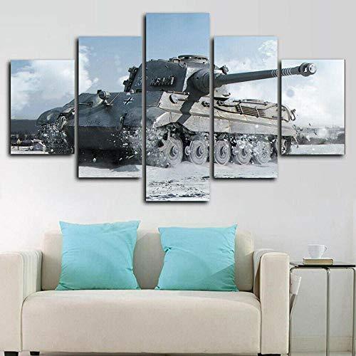 QWASD Cuadro Lienzo Pintura 5 Piezas Pared Pintura Impresión Arte para Hogar Salón Oficina Mordern Decoración Regalo Wall Art Poster Mural Tanque Tiger II World 2