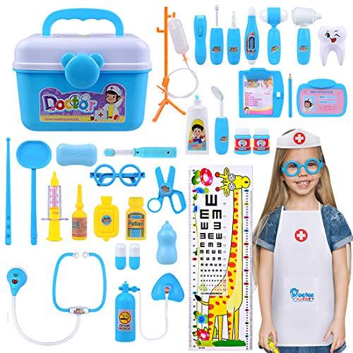 LadyRosian 35Pcs Doctor Kits for Kids Realistic, Stethoscope Medical Kit, Dentist Kit for Kids, Pretend Play Doctor Kit Toys, Holiday for Girls,Boys,Toddler