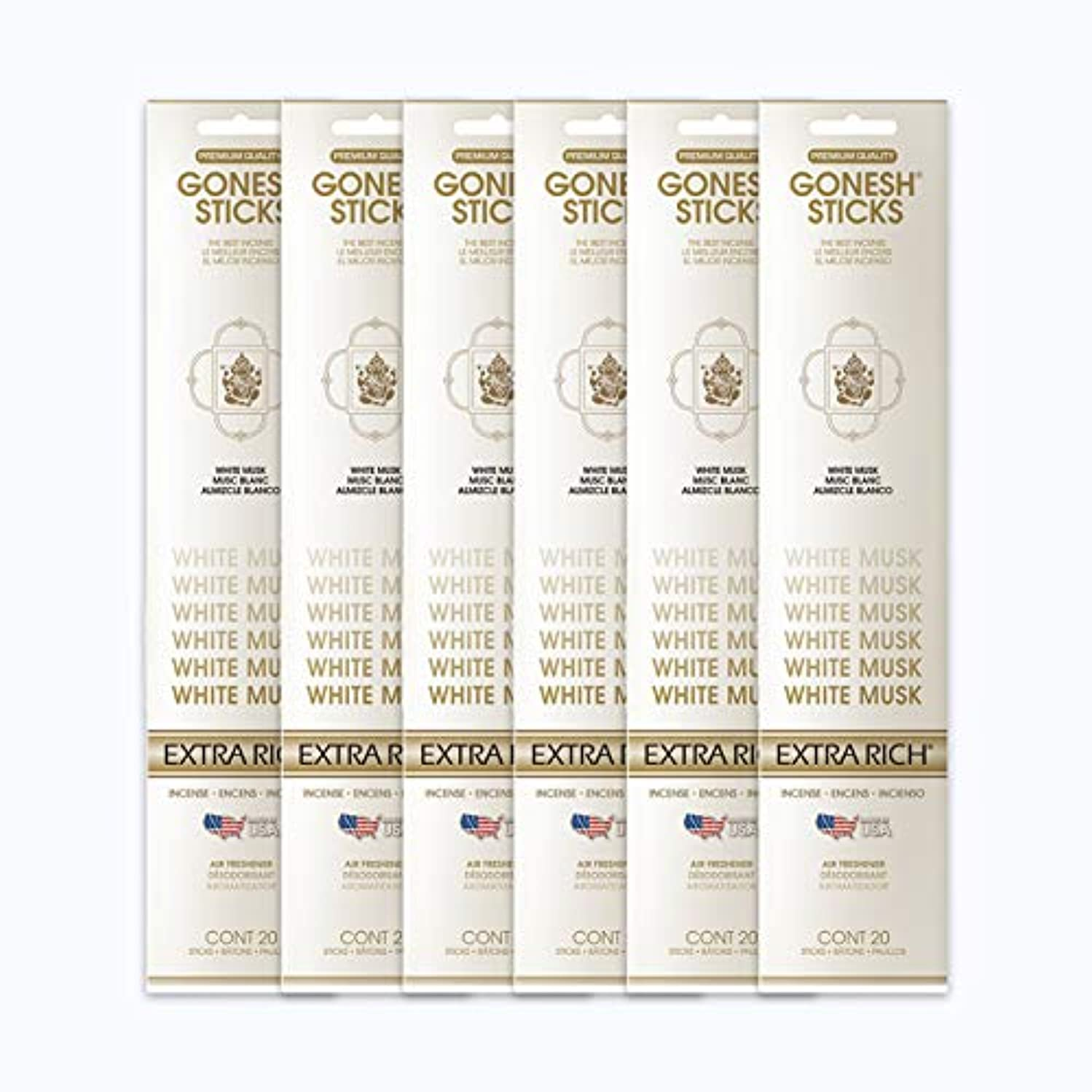 ぺディカブ迷彩観点GONESH インセンススティック WHITE MUSK ホワイトムスク 6パック120本組