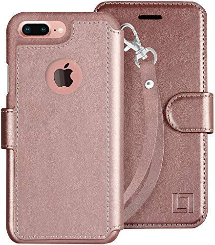 LUPA Wallet case for iPhone 8 Plus, Durable and Slim, Lightweight with Classic Design & Ultra-Strong Magnetic Closure, Faux Leather, Wristlet Rose Gold, Apple 8 Plus (2017)