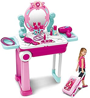 Pretend Play Makeup Toy Set Beauty Princess Dressing Table and Suitcase 2 in 1 Gift for Girls Kids Children,Pink