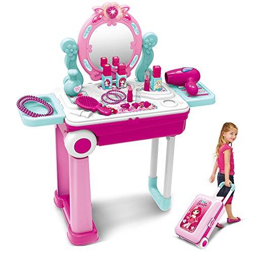 Fantasiespel Make-up Speelgoedset Beauty Princess Kaptafel en koffer 2 in 1 Cadeau voor meisjes Kinderen Kinderen, roze